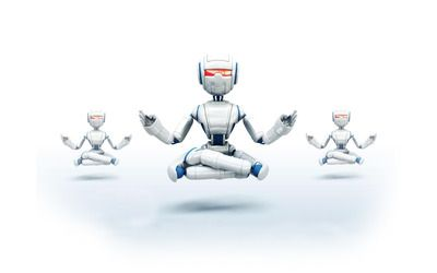 Robots meditating wallpaper