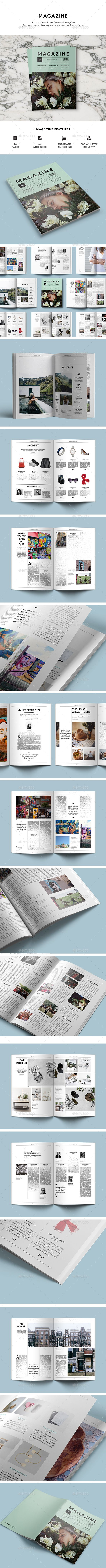 Magazine Template InDesign INDD. Download here: https://graphicriver.net/item/magazine-template/17559609?ref=ksioks