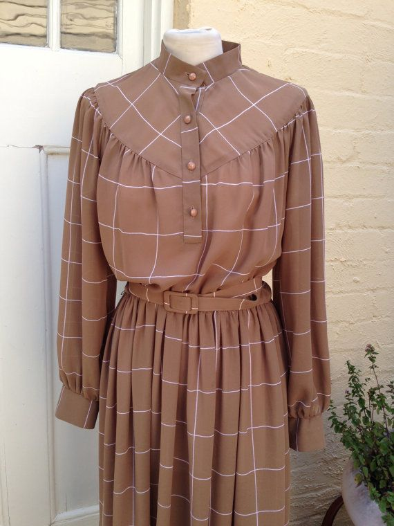 Large - XL 1970's  brown long sleeved dress, size 14, plus size vintage, ships from Australia on Etsy, $40.00 AUD