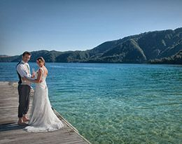 Lake Okataina is a wedding photographers' dream. Bay of plenty wedding venue.