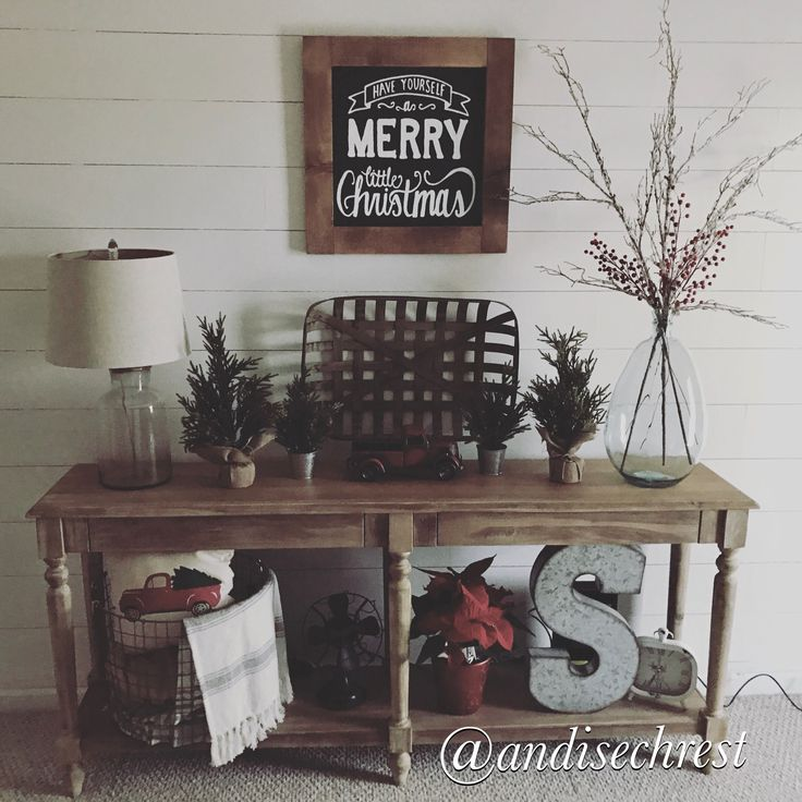 World market Everett foyer table. Christmas decoration. Farmhouse decor