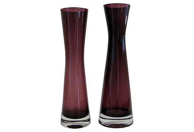 Vintage Purple Scandinavian Vases, Pair on OneKingsLane.com
