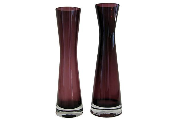 Vintage Purple Scandinavian Vases, Pair on OneKingsLane.com