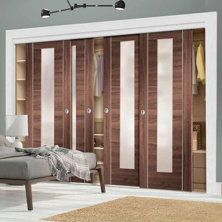 Inspirational Bespoke Thruslide Forli Walnut Glazed Door Wardrobe and Frame Kit Aluminium Inlay Prefinished