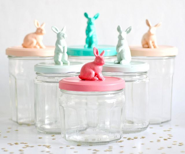 Bunny jars for little easter eggs. Plastic animals + glue + spray paint.