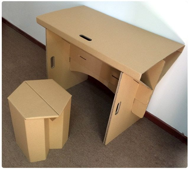 Diy cardboard furniture paper table with chair set, corrugated