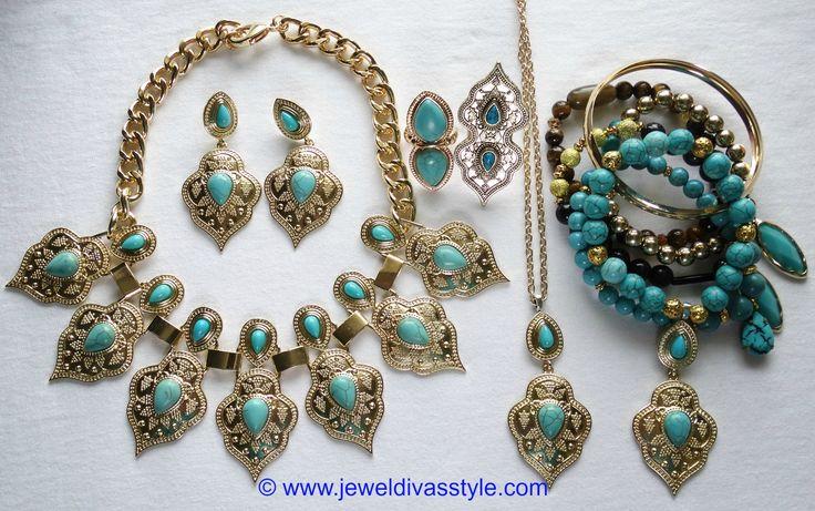 JDS - MARAKESH JEWELLERY SET (JEWEL DIVAS bracelet stack & pendant necklace) - http://jeweldivasstyle.com/designer-inspired-marrakesh-necklace-and-earring-set/