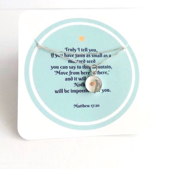 sterling mustard seed faith necklace. bible verse jewelry