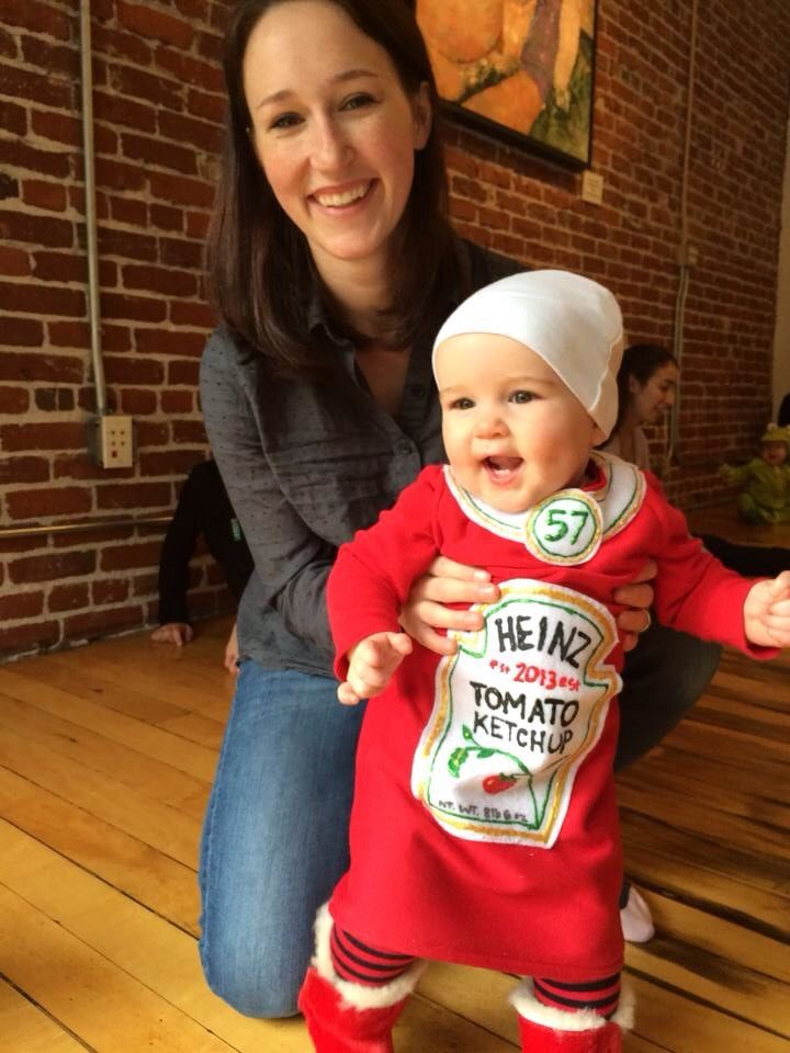 Baby Ketchup costume - Little G was fascinated by ketchup bottles, so a costume idea was created. Birth year and baby's weight are on the ketchup label.
