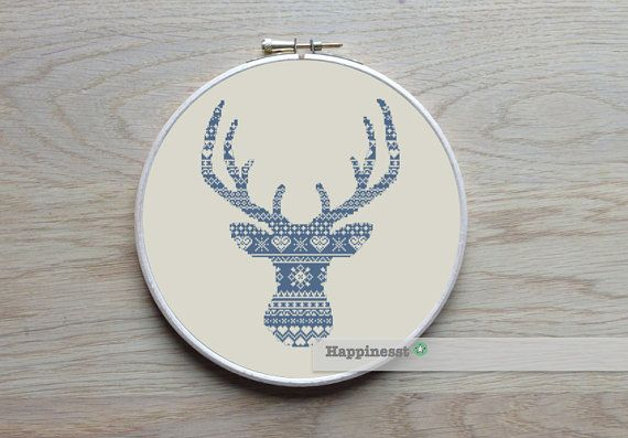 modern cross stitch pattern deer silhouette (big), reindeer, nordic folk, PDF,  ** instant download**