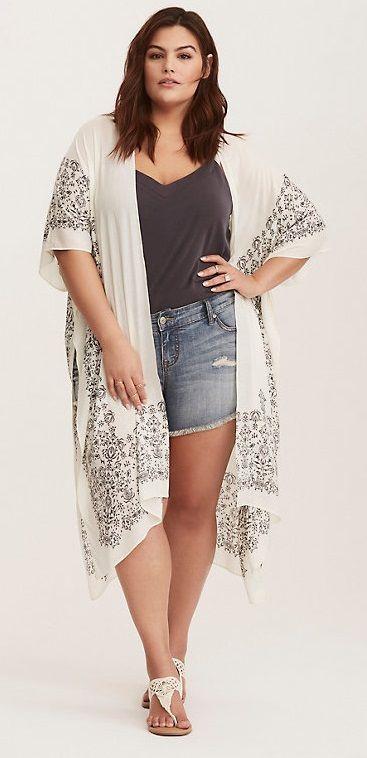 Plus Size Bandana Border Print Kimono
