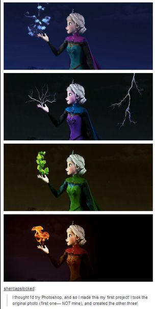 Elements Elsa frozen <3--- What about water or wind?
