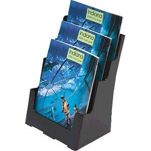 Portafolletos de sobremesa con tres compartimentos para A4.  Dimensiones: 233 x 273 x 315 mm.