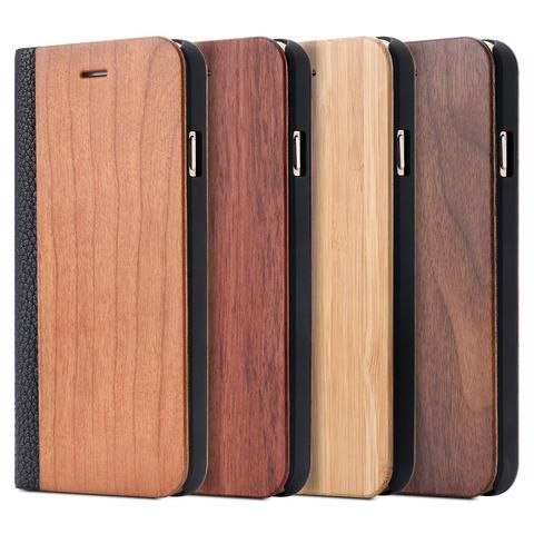 Natural Wood Leather Holster Housing for Apple iPhone 6 6s 7 Plus