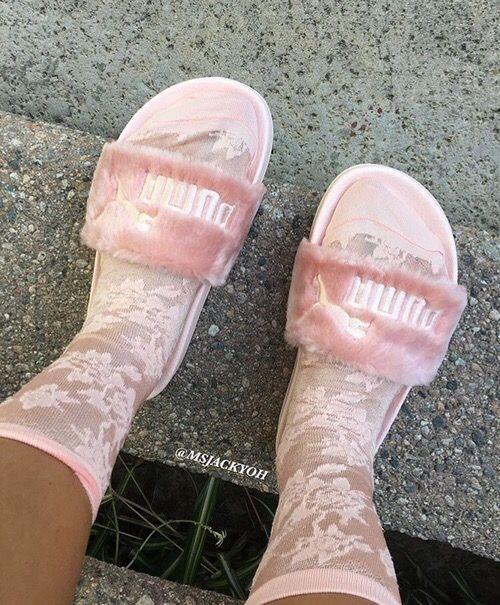26 Best Images About Nike Puma Faux Fur Sandals On Pinterest