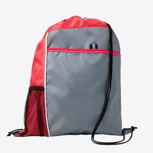 PromoBrand-Promotional sports drawstring bag with large print area. This promotional drawstring bag is made from 210D polyester. Features a large front pocket and side meshed pocket.    Available in the following colours white/grey, green, black/grey, yellow/grey, orange/grey, red/grey, cobalt blue/grey, lime/grey. Each with a black drawstring cord
