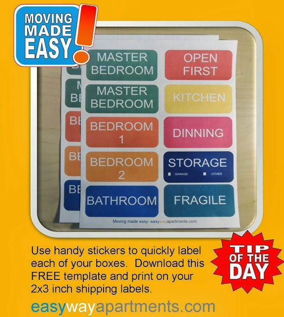 Colored Sticky Labels Template For Easy Labeling Boxes According To Floor Plan Print Out