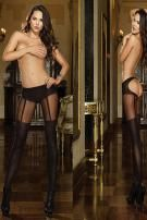 Low rise sheer open back panty hose with silver metal ring back trim; opaque panty, garters and thigh high stocking detailing by Dreamgirl.