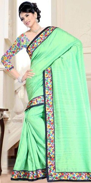 Dazzling Green Bhagalpuri Print Saree With Blouse.