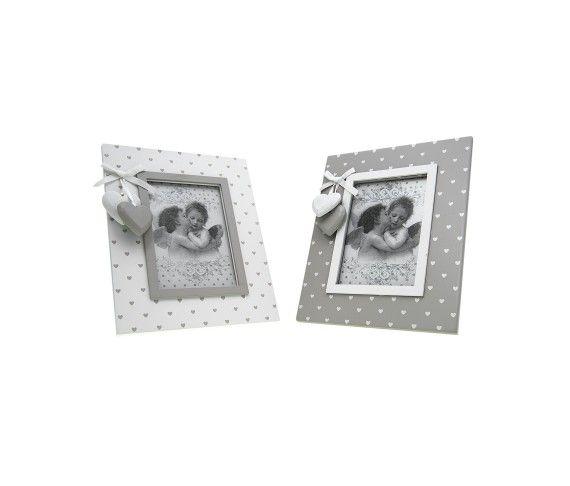 9,52 € - Portafoto in legno rettangolare con cuoricini, stile Shabby Chic, simpatica idea per bomboniera matrimonio, dimensioni cm. 16x20.