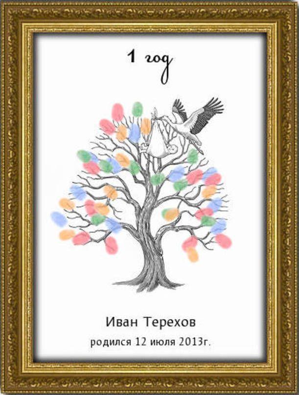 Дерево пожеланий на рождение ребенка, Дерево пожеланий А3 (30х40 см) - фото