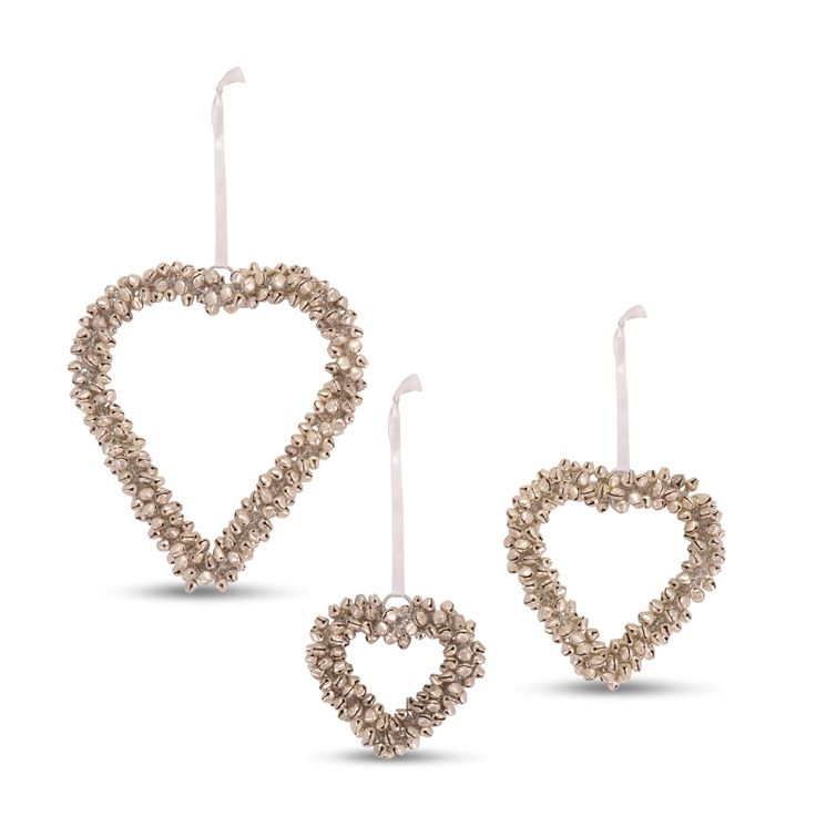 Decorative Hanging Cluster Bell Hearts In Silver Finish Three Sizes To Choose From