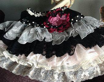 Wedding Flower girl Vintage Lace Ruffled skirt by Babybonbons