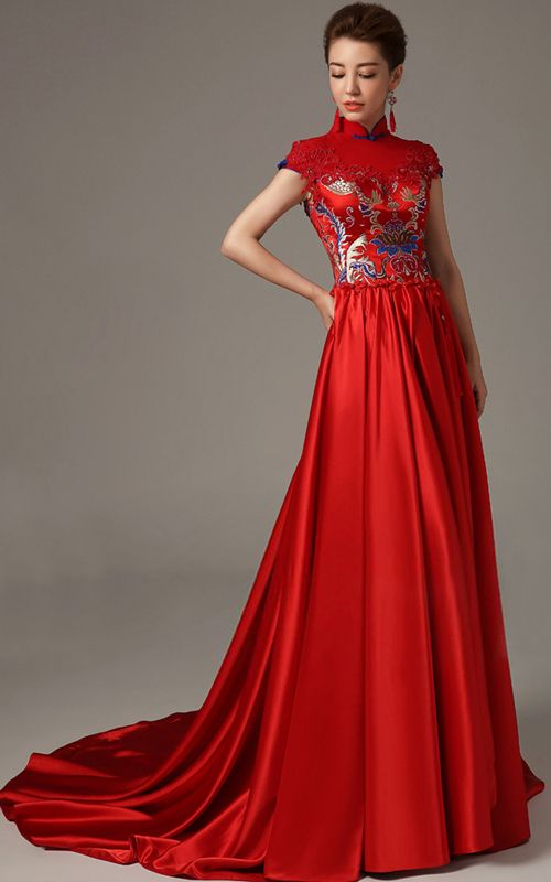 Mandarin collar red A-line trailing silk stain Chinese wedding dress | Modern Qipao