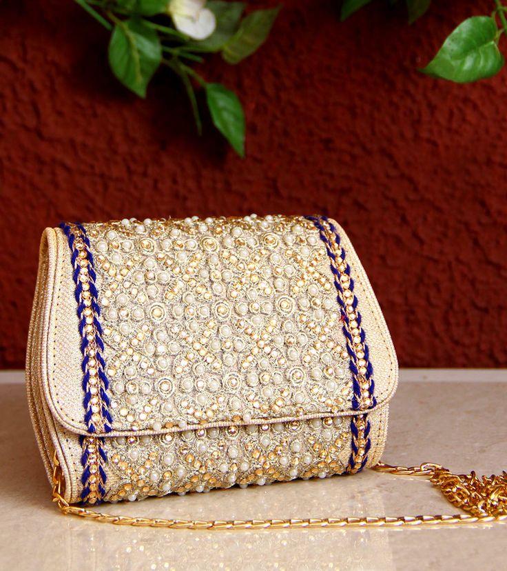 Indian handmade royal blue noor clutch purse on Scarlet Bindi #fashion #clutch #indianclutch