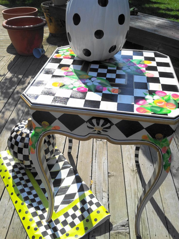 Mackenzie Childs Inspired Courtly Check Accent Table