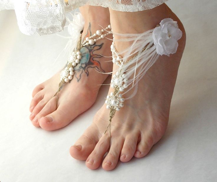 Barefoot Sandals Beach Bridal Wedding Pearls Feathers White Ivory Beaded Brides Toe