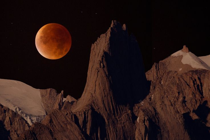 Blood super moon over Bear Island in Greenland.