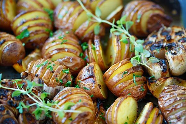 Garlic Hasselback Potatoes - Great Side Dish in No Time At All!