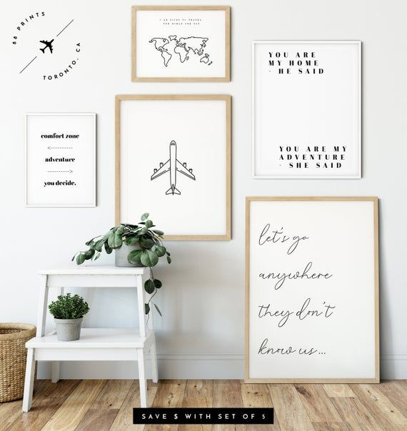 Motivational Travel Quotes Framed Pictures Wanderlust Wall Art Bedroom Prints