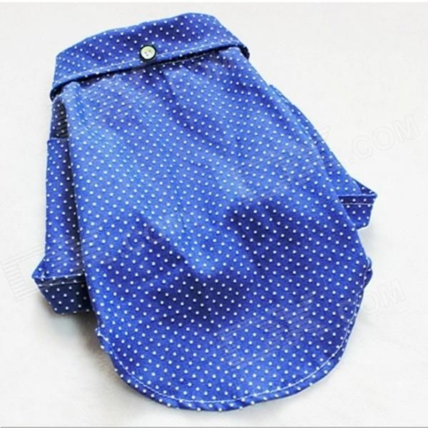 Lovely Round Dot Cotton Cowboy Shirt for Pet's Dogs - Blue (Size L)