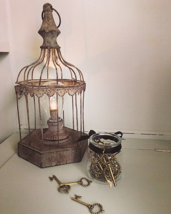 LED Birdcage Lantern  A rustic style bird cage light with a rustic finish. Creates a beautiful glow for the home. Battery operated. Size 15 x 13 x 28cm
