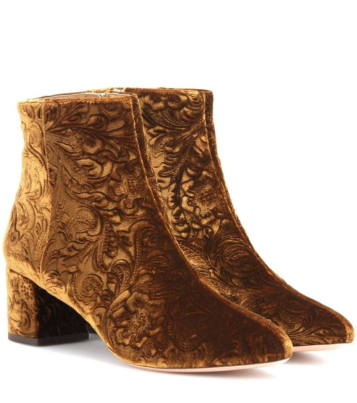 AQUAZZURA Embossed Velvet Ankle Boots. #aquazzura #shoes #boots