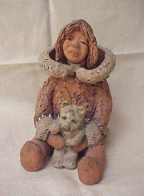 Vintage Canadian Swedish-Born RUTH PITHER Hen Pen Studio Sculpture, INUIT & Dog