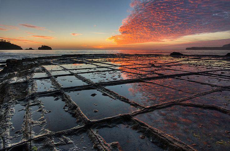Sunrise, Tessellated Pavement, Eaglehawk Neck, Tasman Peninsula, Tasmania, Australia. By JJ Harrison.