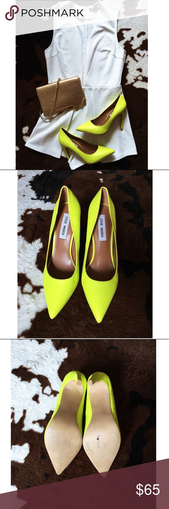 Steve Madden Yellow Pumps Sold out color! Worn once! Steve Madden bright yellow pumps. Great statement shoe to your outfit! Steve Madden Shoes Heels