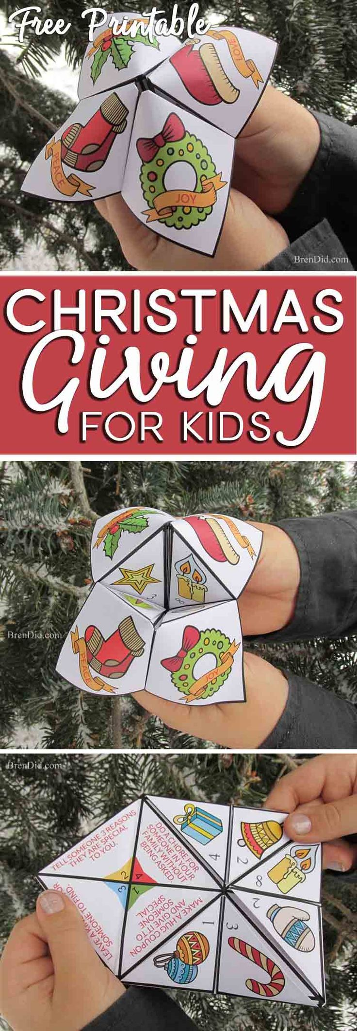 """Christmas Cootie Catcher - Teach kids about giving through simple acts of kindness. This fun """"fortune teller"""" is filled with easy, child-sized activities. Kids can help with a chore, give a friend a paper snowflake, pick up litter, and more! Get the free printable & practice kindness all season long!"""