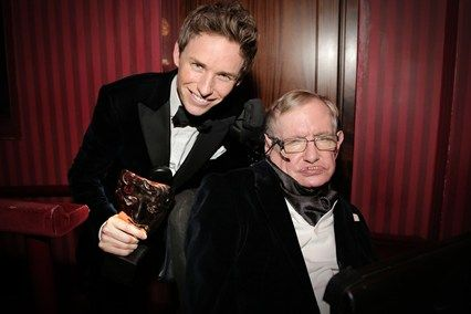 2015 BAFTA winner for Best Actor, Eddie Redmayne in The Theory of Everything - for his portrayal of the famous physicist, posed here with him.