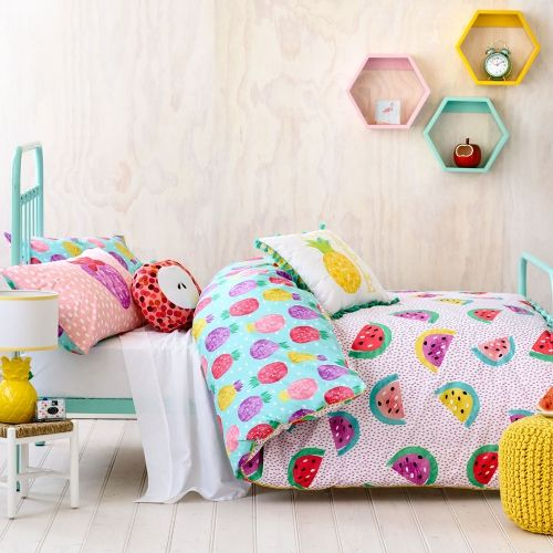 LOVE THE SHELVES! Bright, colourful and perfect for summer, the Fruit Salad bedlinen range from Adairs Kids will be just the thing to brighten up your little ones bedroom. Featuring a gorgeous multi coloured watermelon print on the front and a range of delicious pineapples on the reverse what's not to love about this fun, fruity design. For a complete look check out the Fruit Salad cushion range from Adairs Kids.