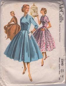 1950s full circle skirt dress with wrapped V neckline