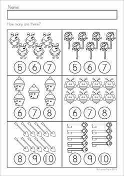 Kindergarten Valentine's Day Math and Literacy Worksheets & Activities No Prep. A page from the unit: counting