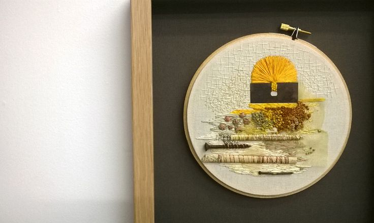 'lost and found' series 'sunrise' with french knot stitching, found objects and old book page