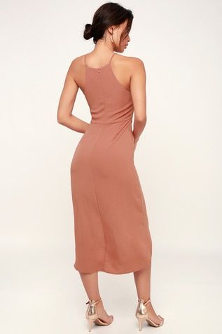 d3039303493c Kiernan Rusty Rose Tie-Front High-Low Midi Dress