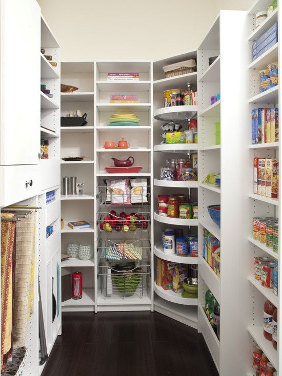 Kitchen pantry ideas - Really like the lazy susan idea for the corner.