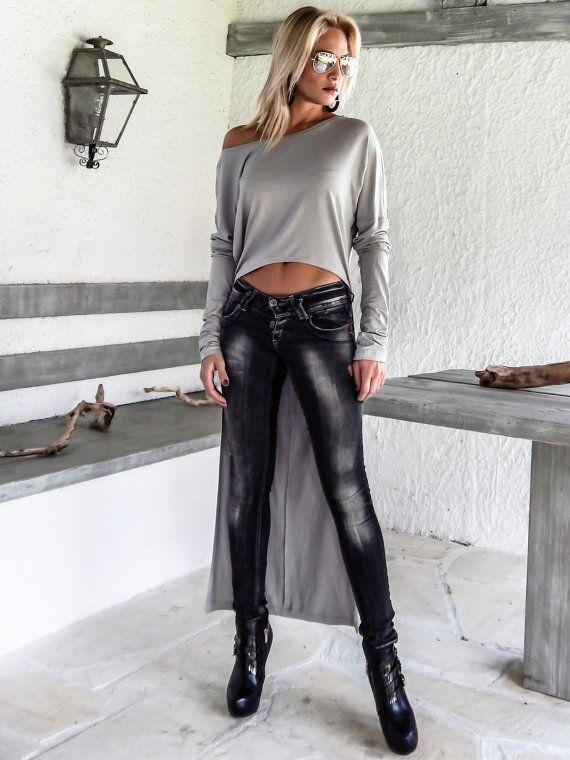Luz gris asimétrica blusa túnica / asimétrico corto largo
