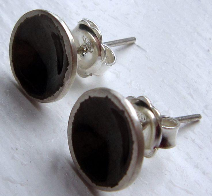 Silver enamelled disk earrings by kochiokada on Etsy